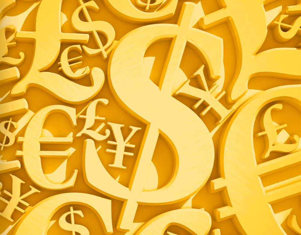 Gold money symbols